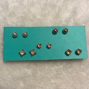 🌟H&M Rose Gold Diamond Earrings- Set of 5🌟
